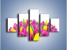 Obraz na płótnie – Bukiet fioletowo-żółtych tulipanów – pięcioczęściowy K778W1