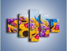 Obraz na płótnie – Bajka o kwiatach i motylach – pięcioczęściowy K794W1