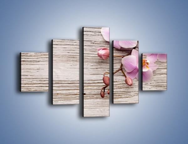 Obraz na płótnie – Kwiaty na drewnianej belce – pięcioczęściowy K825W1