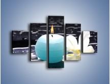 Obraz na płótnie – Błękit świecy z kwiatem – pięcioczęściowy K887W1
