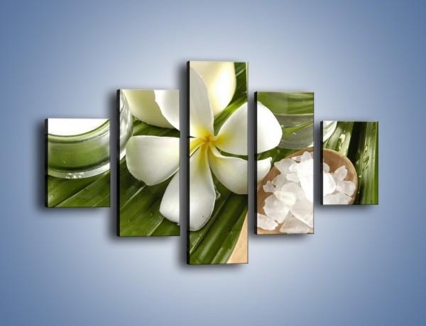 Obraz na płótnie – Sól świece i kwiat – pięcioczęściowy K903W1