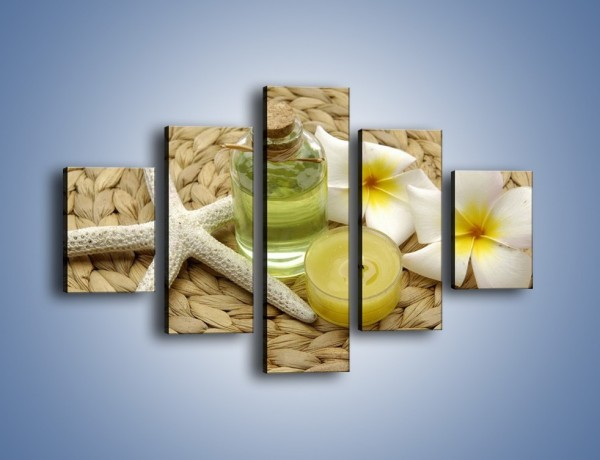 Obraz na płótnie – Z kwiatami w plecionym półmisku – pięcioczęściowy K904W1