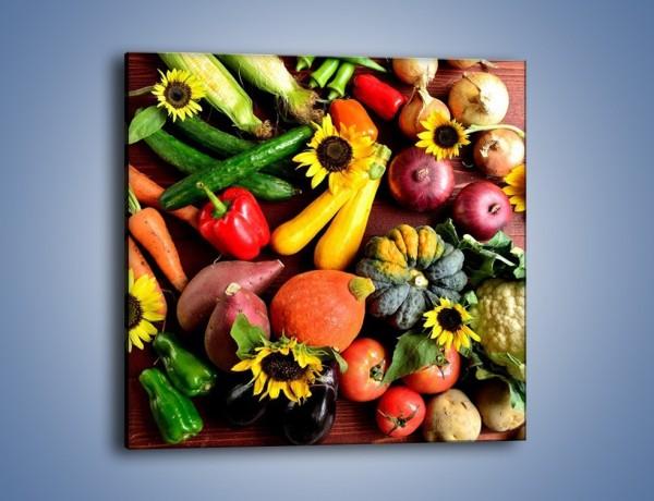 Obraz na płótnie – Warzywne szaleństwa na stole – jednoczęściowy kwadratowy JN607