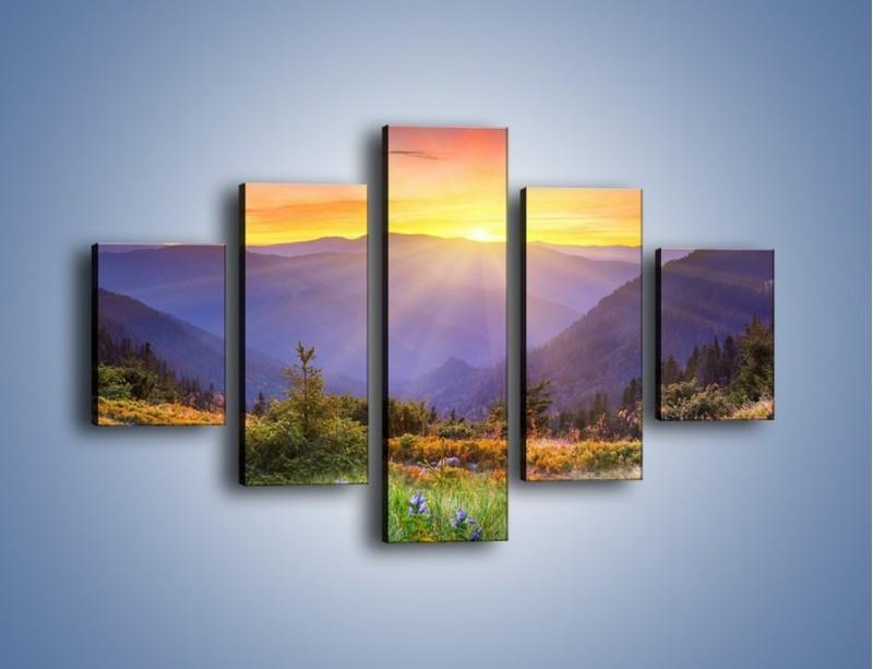 Obraz na płótnie – Góry o zachodzie słońca – pięcioczęściowy KN014W1