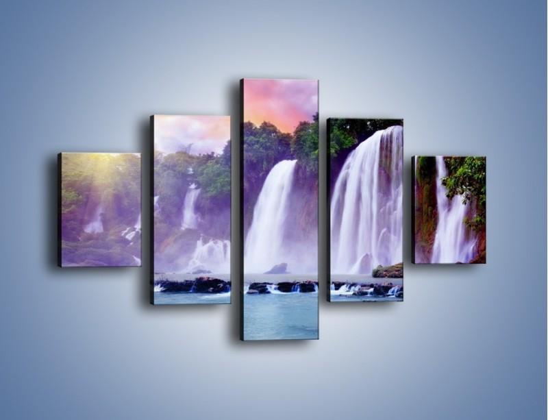Obraz na płótnie – Wodospady jak z bajki – pięcioczęściowy KN026W1