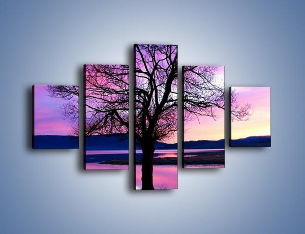 Obraz na płótnie – Samotne drzewo o zmroku – pięcioczęściowy KN049W1