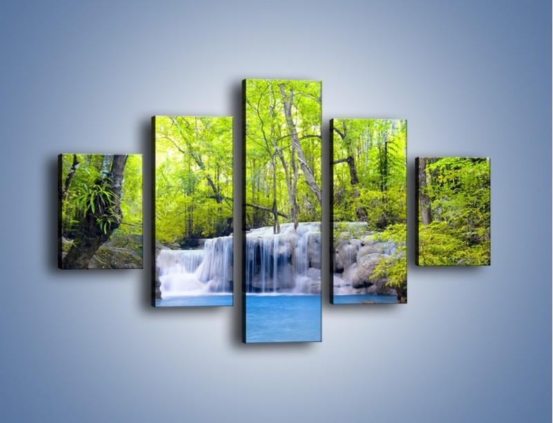 Obraz na płótnie – Mały leśny wodospad – pięcioczęściowy KN057W1