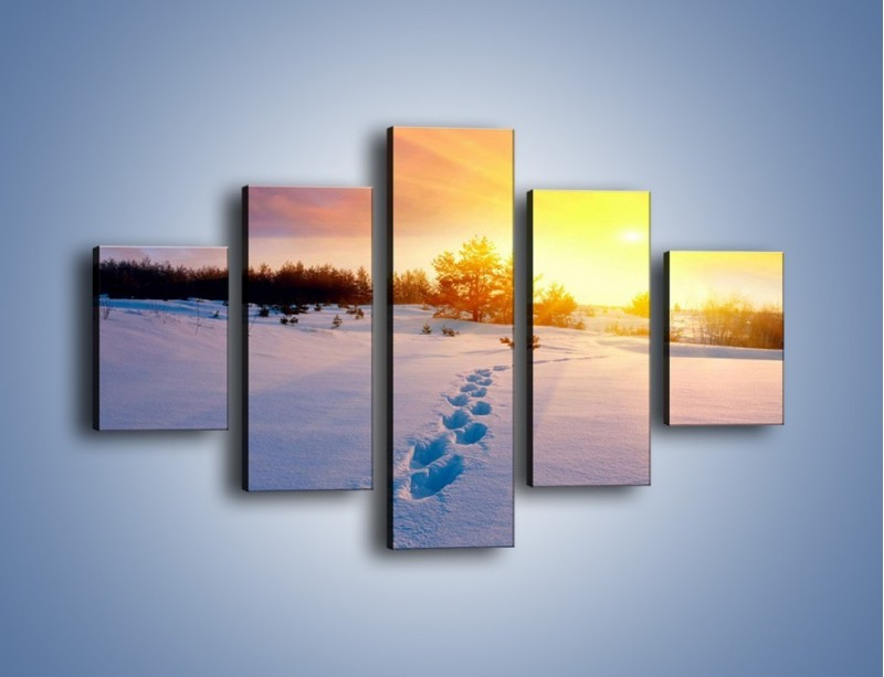 Obraz na płótnie – Ślady na śnieżnym puchu – pięcioczęściowy KN1015W1