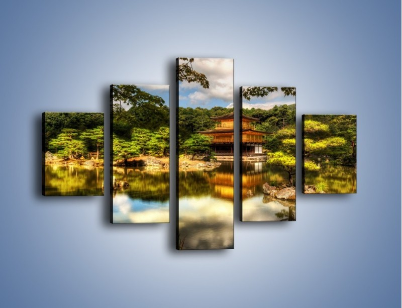 Obraz na płótnie – Widok z domu na wodę – pięcioczęściowy KN1030W1