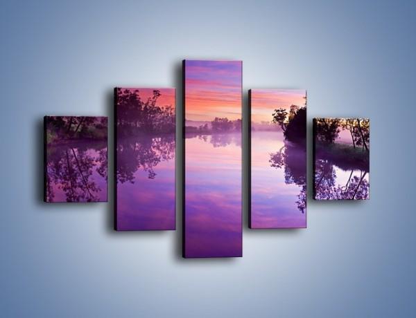 Obraz na płótnie – Fiolet w wodzie i na niebie – pięcioczęściowy KN1046W1