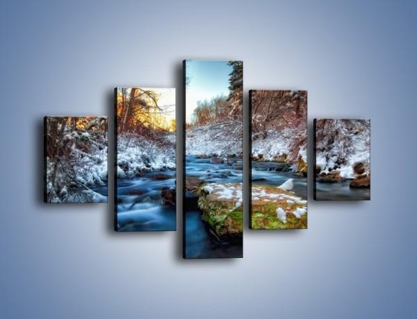 Obraz na płótnie – Resztki zimy w wodospadzie – pięcioczęściowy KN1066W1