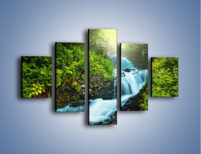 Obraz na płótnie – Spływ wodny i zieleń – pięcioczęściowy KN1069W1