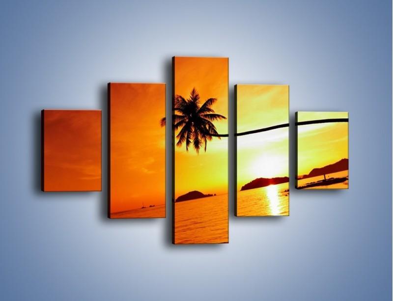 Obraz na płótnie – Palma o zachodzie słońca – pięcioczęściowy KN1077W1