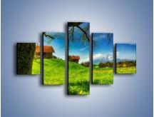 Obraz na płótnie – Chatki na polanie – pięcioczęściowy KN1085AW1