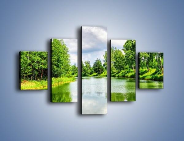 Obraz na płótnie – Spokojna woda i las – pięcioczęściowy KN1086W1