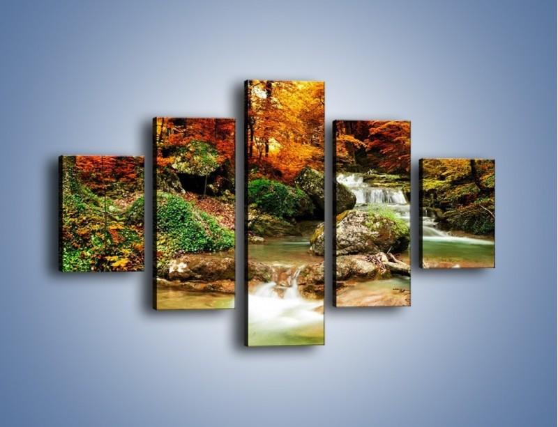 Obraz na płótnie – Jesienne kolory w lesie – pięcioczęściowy KN1094AW1