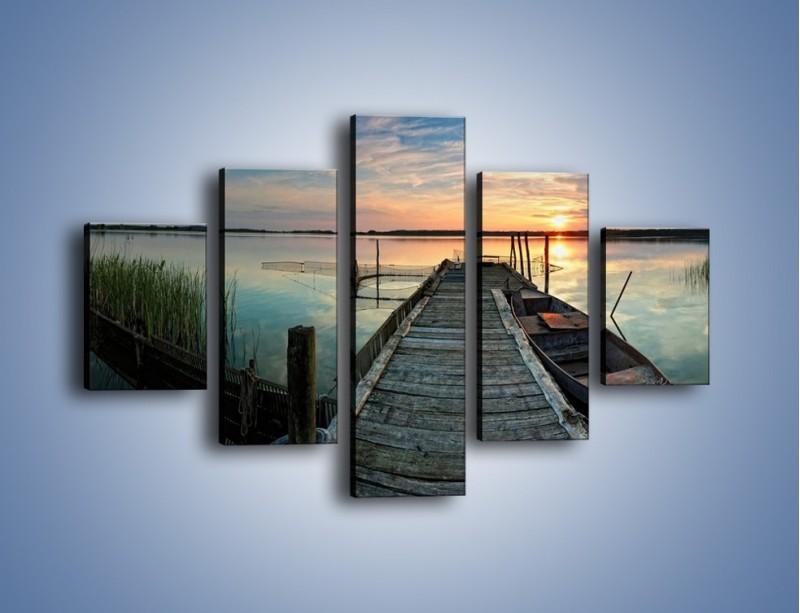 Obraz na płótnie – Stary most i łódź – pięcioczęściowy KN1096AW1