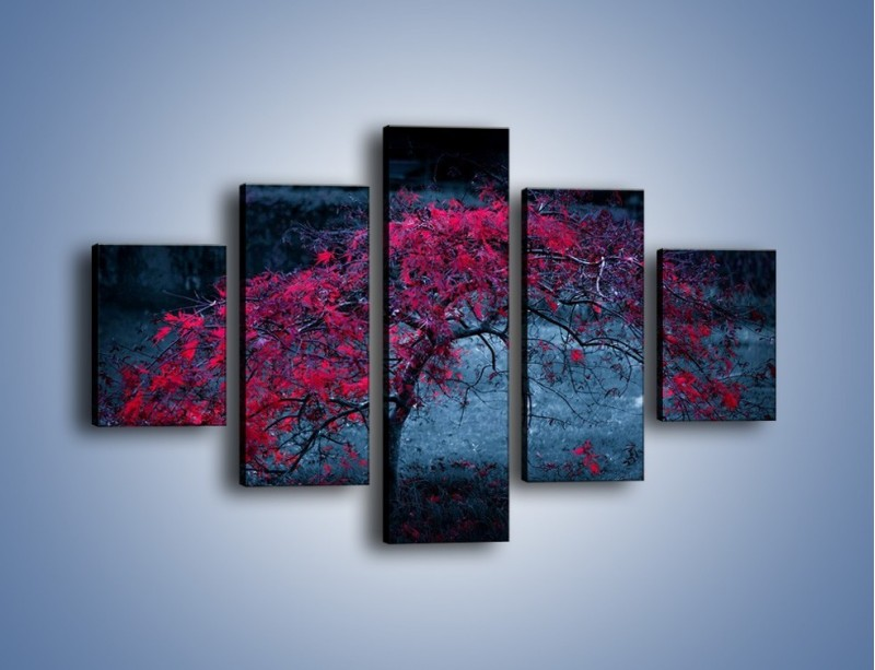 Obraz na płótnie – Czerwone płaczące drzewo – pięcioczęściowy KN1101AW1