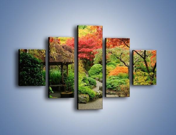 Obraz na płótnie – Alejka między kolorowymi drzewami – pięcioczęściowy KN1113W1