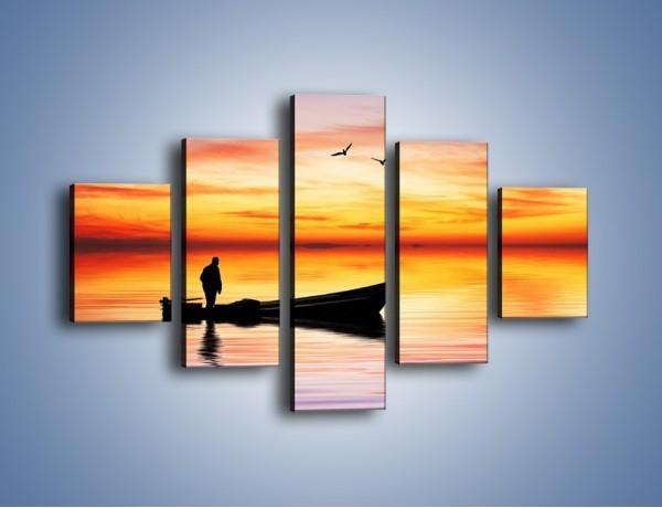 Obraz na płótnie – Samotna podróż o zachodzie słońca – pięcioczęściowy KN112W1