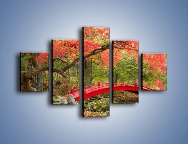 Obraz na płótnie – Czerwony most czy czerwone drzewo – pięcioczęściowy KN1122AW1