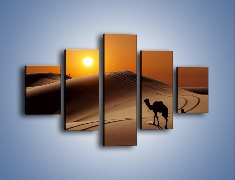 Obraz na płótnie – Człowiek wielbłąd i wydmy – pięcioczęściowy KN1134AW1