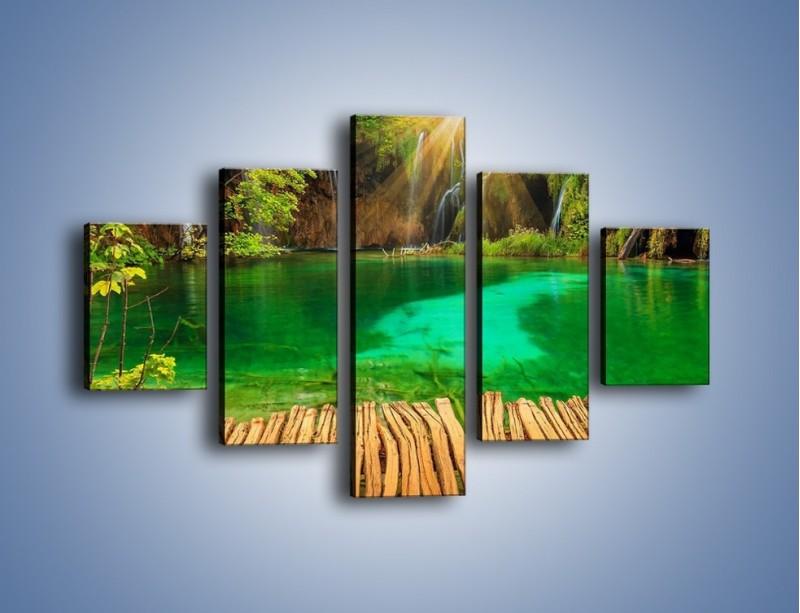Obraz na płótnie – Zielone oczko wodne i drewno – pięcioczęściowy KN1149AW1