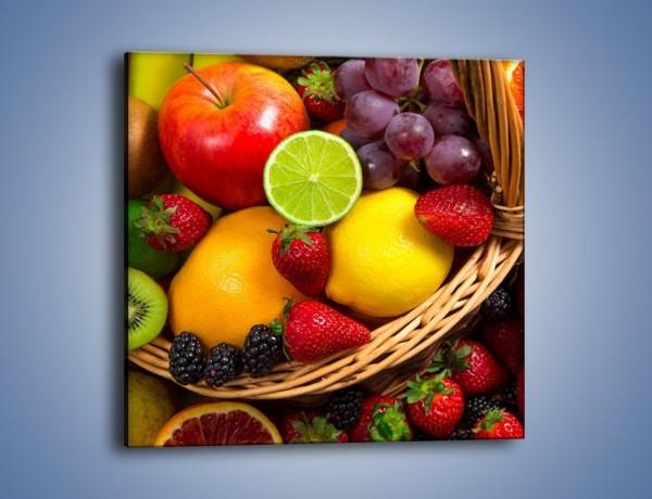 Obraz na płótnie – Owocowa tęcza na stole – jednoczęściowy kwadratowy JN616