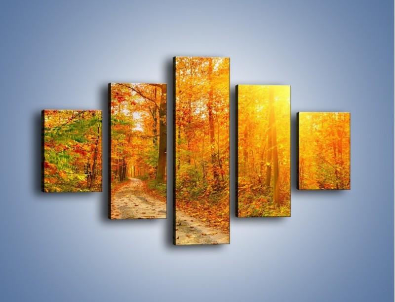 Obraz na płótnie – Leśną drużką jesienią – pięcioczęściowy KN1163AW1