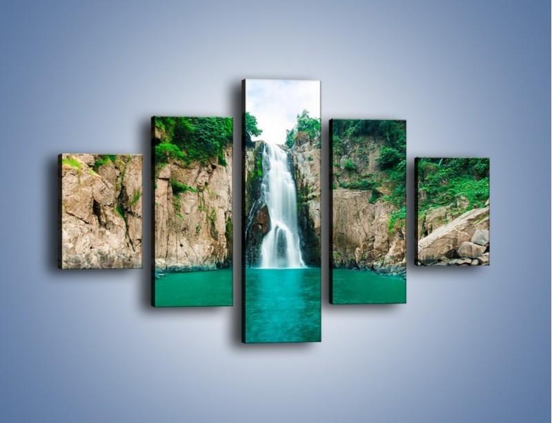 Obraz na płótnie – Skok ze skarpy do wody – pięcioczęściowy KN1184AW1