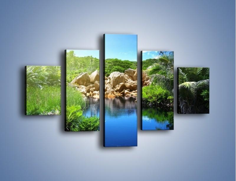 Obraz na płótnie – Wapienne skałki na wodzie – pięcioczęściowy KN1188AW1