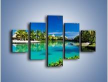 Obraz na płótnie – Biały piasek i palmy – pięcioczęściowy KN1201AW1