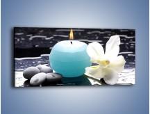 Obraz na płótnie – Błękit świecy z kwiatem – jednoczęściowy panoramiczny K887