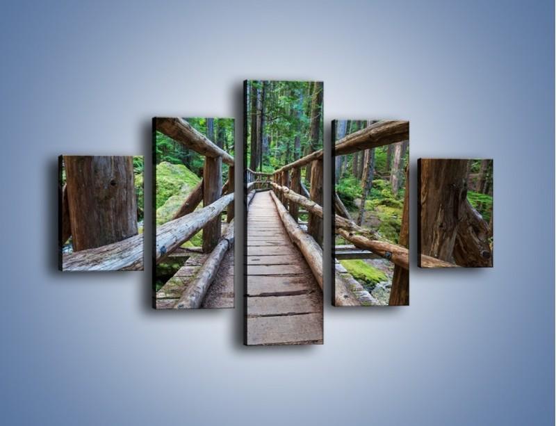 Obraz na płótnie – Mostek z drewnianych bali – pięcioczęściowy KN1207AW1