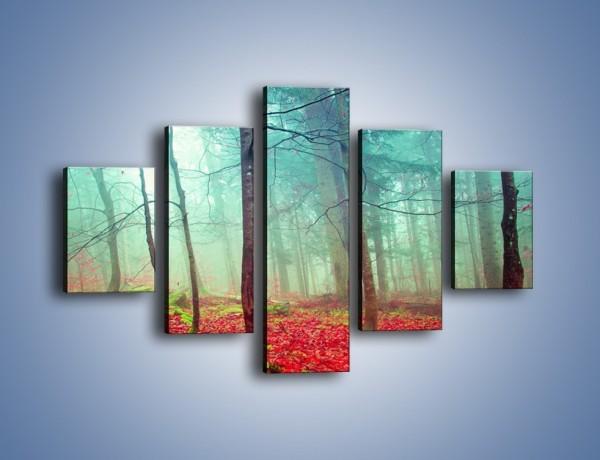 Obraz na płótnie – Drzewka na czerwonym dywanie – pięcioczęściowy KN1222AW1
