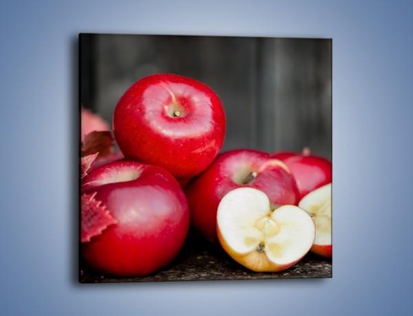 Obraz na płótnie – Czerwone jabłka późną jesienią – jednoczęściowy kwadratowy JN619