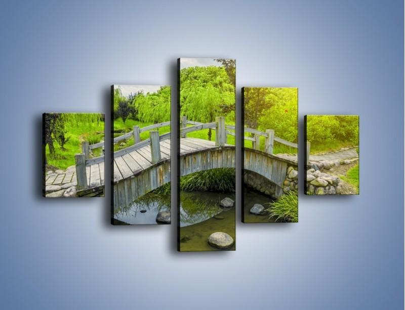 Obraz na płótnie – Mały mostek przez rzeczkę – pięcioczęściowy KN1254AW1