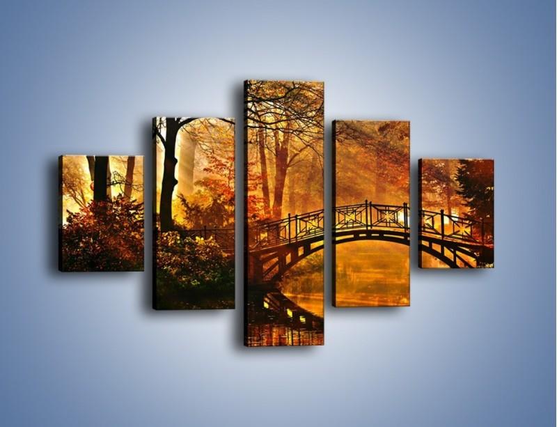Obraz na płótnie – Cudowny spacer jesienną porą – pięcioczęściowy KN1319AW1