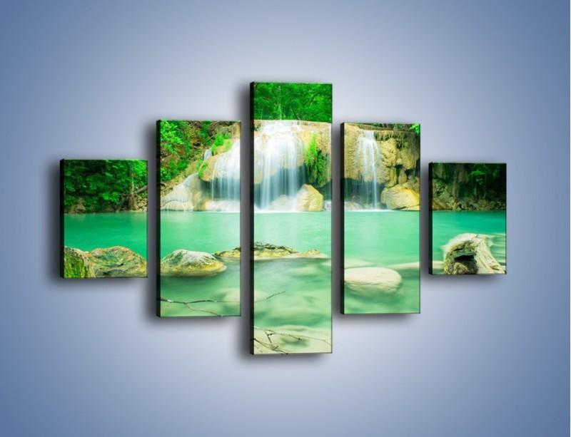 Obraz na płótnie – Jasne kamienie pod wodą – pięcioczęściowy KN1340AW1