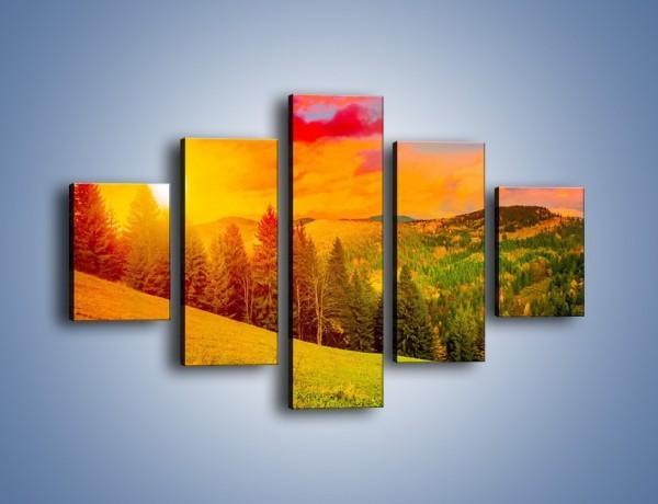 Obraz na płótnie – Zachód słońca za drzewami – pięcioczęściowy KN150W1