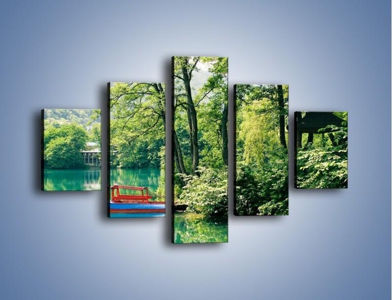 Obraz na płótnie – Wakacje nad jeziorem – pięcioczęściowy KN155W1