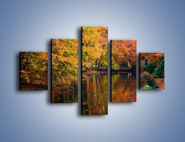 Obraz na płótnie – Spadające liście na wodzie – pięcioczęściowy KN179W1