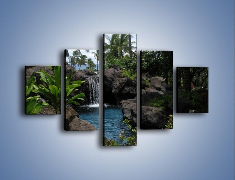 Obraz na płótnie – Wodospad wśród palm – pięcioczęściowy KN208W1