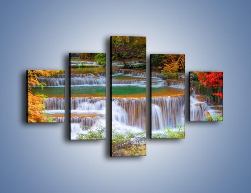 Obraz na płótnie – Schodki z wodospadów – pięcioczęściowy KN287W1