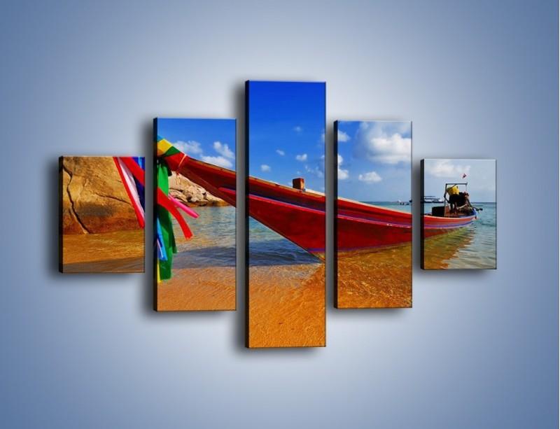 Obraz na płótnie – Kolorowa łódź na brzegu – pięcioczęściowy KN415W1