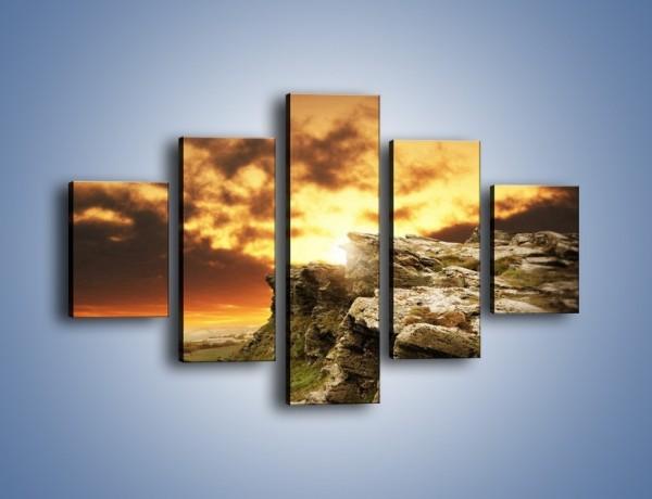 Obraz na płótnie – Szkockie klify o zachodzie słońca – pięcioczęściowy KN545W1