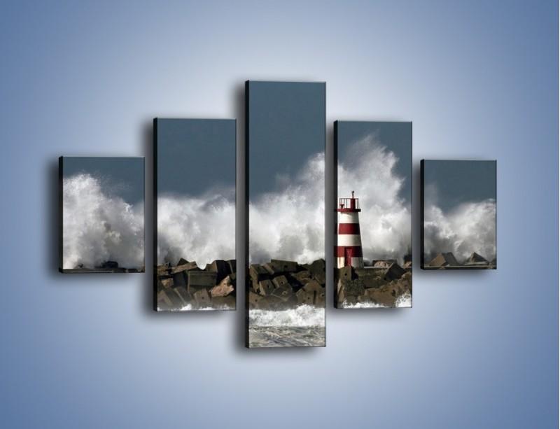 Obraz na płótnie – Latarnia morska w sztormie – pięcioczęściowy KN626W1