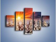 Obraz na płótnie – Choinki w środku zimy – pięcioczęściowy KN682W1