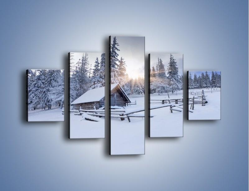 Obraz na płótnie – Chatka zatopiona w śniegu – pięcioczęściowy KN696W1