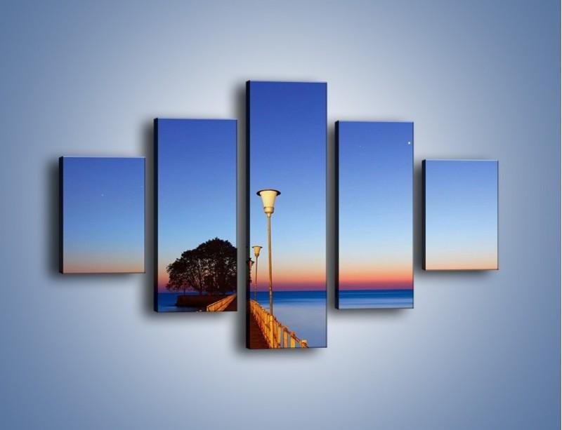 Obraz na płótnie – Wieczorny spacer po tafli morza – pięcioczęściowy KN759W1